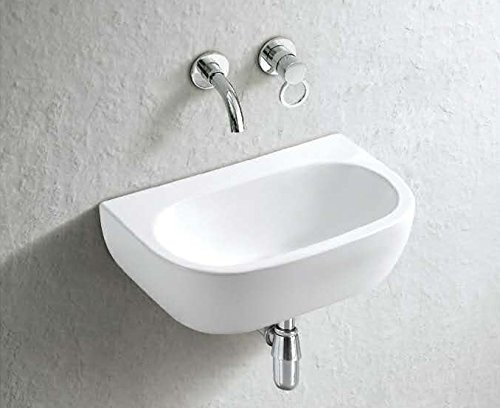 Clickbasin Cannes Wall Mounted 42cm X 28cm No Tap Hole Rectangular Ceramic Sink