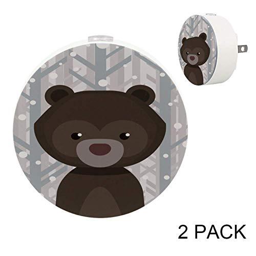 - LORVIES Bear Wild Animals Nature Africa Night Light Plug in Dusk to Dawn Light Sensor Auto on/Off LED Wall Light 2-Pack