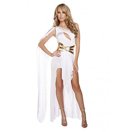 Sexy 2pc Women's WHITE & GOLD Gorgeous Greek Goddess Costume (M/L)