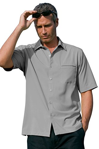 Vantage Men's Vansport Woven Camp Shirt, Grey, XL
