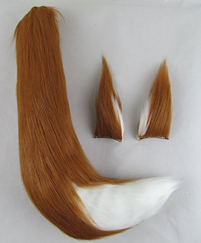 Happylifehere Furry Fox Ears Fox Tail Unisex Adult Fancy Dress Cosplay Costume Halloween Party (25'' tail, Brown and White) -