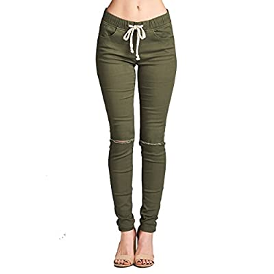 Nice YourStyle Waist Drawstring Knee Slit Cotton Twill Skinny Pants free shipping