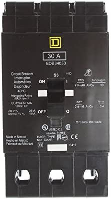 SCHNEIDER ELECTRIC EDB34030 Miniature Circuit Breaker 480Y 277-Volt 30-Amp Electrical Box