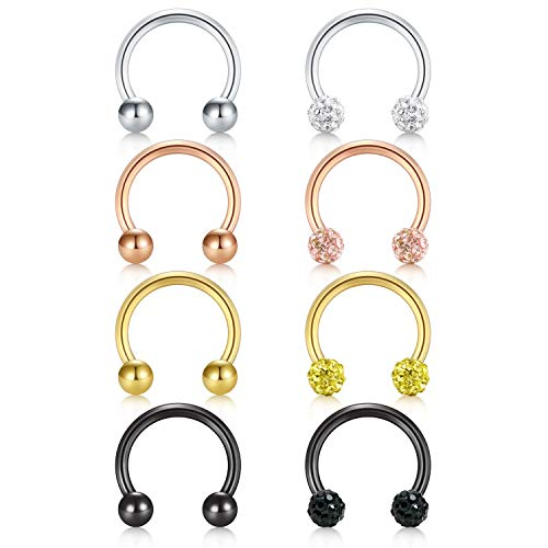 D.Bella 8PCS 16G Crystal & Ball Nose Septum Horseshoe Earring Eyebrow Lip Helix Tragus Cartilage Piercing Ring 8mm