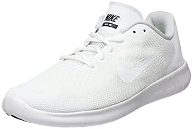 Nike Kids Free Rn 2017 (GS) White/White/Black Running Shoe 5.5 Kids US