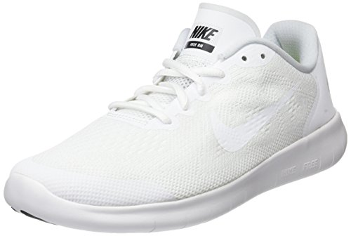 Nike Kids Free Rn 2017 (GS) White/White/Black Running Shoe 6.5 Kids - Cycling Nike Shoes