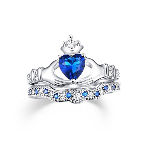 sapphire claddagh ring - 8