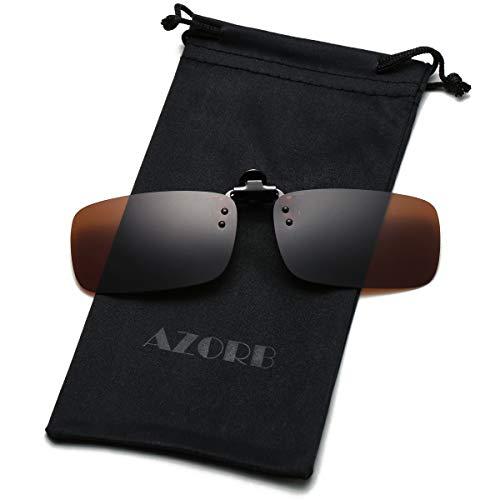 Polarized Clip on Sunglasses Over Prescription Glasses for Men Women Driving Fishing Outdoor Sport (Brown) (Best Brand Of Sunglasses For The Money)
