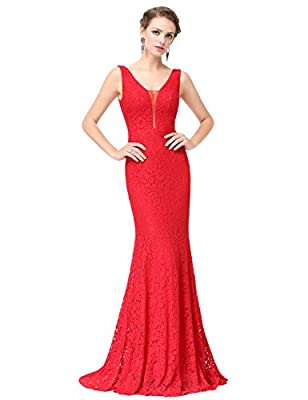 Ever Pretty Women's Sexy V-neck Long Fishtail Evening Dress 08838