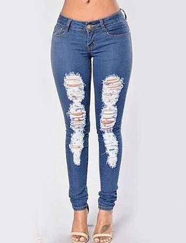Taille Jeans Solide YFLTZ Haute Slim Femme Jeans Blue xIxgqZ