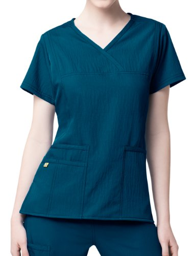 - WonderWink Four-Stretch Women's Y-Neck Solid Scrub Top XXX-Large Caribbean