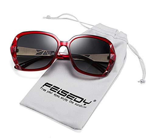 (FEISEDY Classic Polarized Women Sunglasses Sparkling Composite Frame B2289)