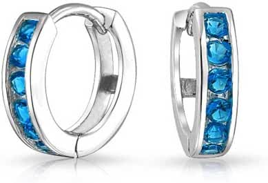 Bling Jewelry Simulated Blue Topaz CZ Silver Huggie Earrings