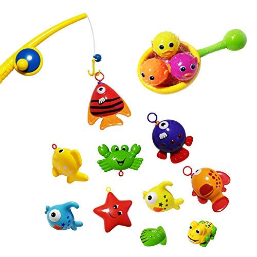 Zviku Super-Fun 15 Pcs Bath Toy Fishing Set | Includes Fishing Rod, Net & Fishes | Ultimate Bathtub Toys Set for Bathroom Or Pool | Waterproof, Colorful Floating Fishing Play Set for Boys & Girls