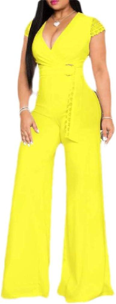 Hajotrawa Womens V-Neck Sleeveless Belt Solid Wide Leg Rompers Jumpsuits