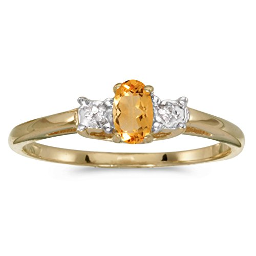 Jewels By Lux 14k Yellow Gold Genuine Birthstone Solitaire Oval Citrine And Diamond Wedding Engagement Ring - Size 5.5 (0.15 Cttw.)