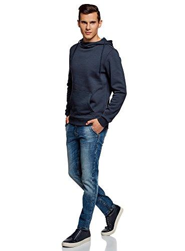 Homme Une Hoodie Avec Oodji Ultra 7900n Bleu Basique Poche w5qCn1R