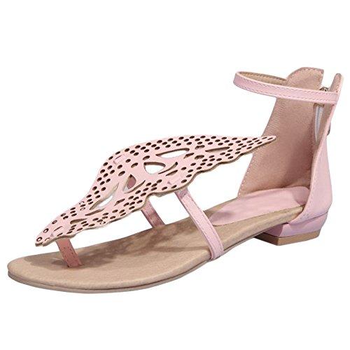 TAOFFEN Women Flat Sandals Shoes Clip Toe Pink-2 oQN2MpLjg