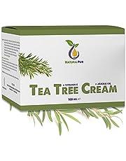 Krem z Olejkiem z Drzewa Herbacianego 100ml, wegański - Kosmetyka naturalna do stosowania na przebarwienia, stany zapalne skóry, krem przeciw pryszczom, krem na trądzik