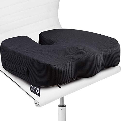 Seat Cushion Pillow for Office Chair - 100% Memory Foam - Firm Coccyx Pad - for People 150-220lb - Tailbone, Sciatica, Lower Back Pain Relief - Posture Corrector for Car, Wheelchair, Desk