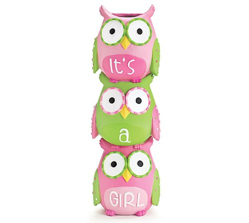''It's A Girl'' Owl Vase Pink and Green Stacked Vase for Nursery Decor and Baby Shower