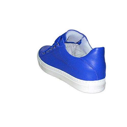 Sneakers uomo bassa bluette lacci forata blu vera pelle made in italy ultraleggera