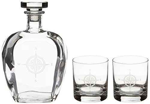 Rolf Glass Etched Compass Rose Decanter and On The Rocks Glass Set, Clear