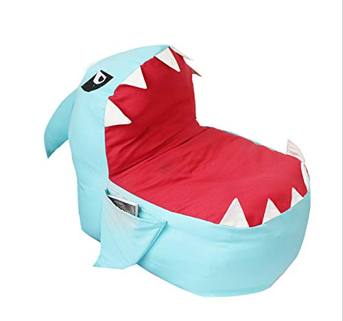 No Stuffing -Holds Lots of Stuffed Animals As Stuffing Large Blue Multi-Functional Shark Design Storage Bean Bag for Plush Toy Storage Durable Home Organizer and Chair Perfect for Kids Bedroom