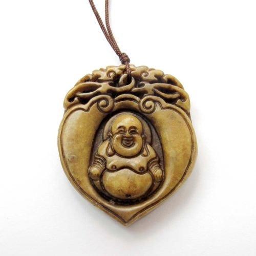 Gozebra(TM) Old Jade Gem Tibet Buddhist Happy Buddha Chinese Zodiac Dragons Amulet Pendant