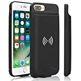 iPhone 6/6S/7/8 Battery Case with QI Standard Wireless Charging, Epuirie 3800mAh External Battery Case Portable Rechargeable Backup Power Bank Protective Battery Pack (Black)