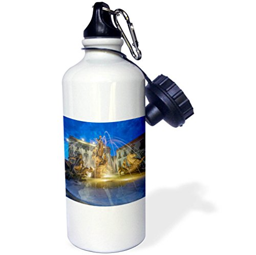 3dRose Danita Delimont - Fountains - Europe, Italy, Sicily, Syracuse, Twilight Piazza Archimede - 21 oz Sports Water Bottle (wb_277639_1) by 3dRose