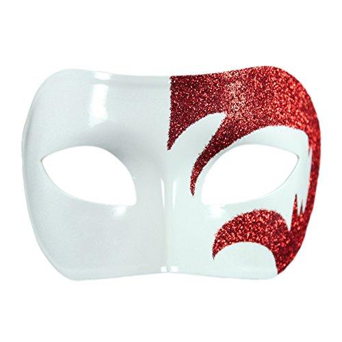 [Mystic Red Glitter & White Venetian Masquerade Mask ~ Mardi Gras Prom Party] (White Mardi Gras Mask)