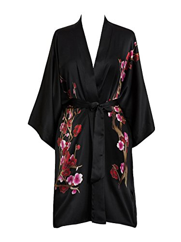 Old Shanghai Women's Silk Kimono Short Robe - Handpainted - Cherry Blossom Black