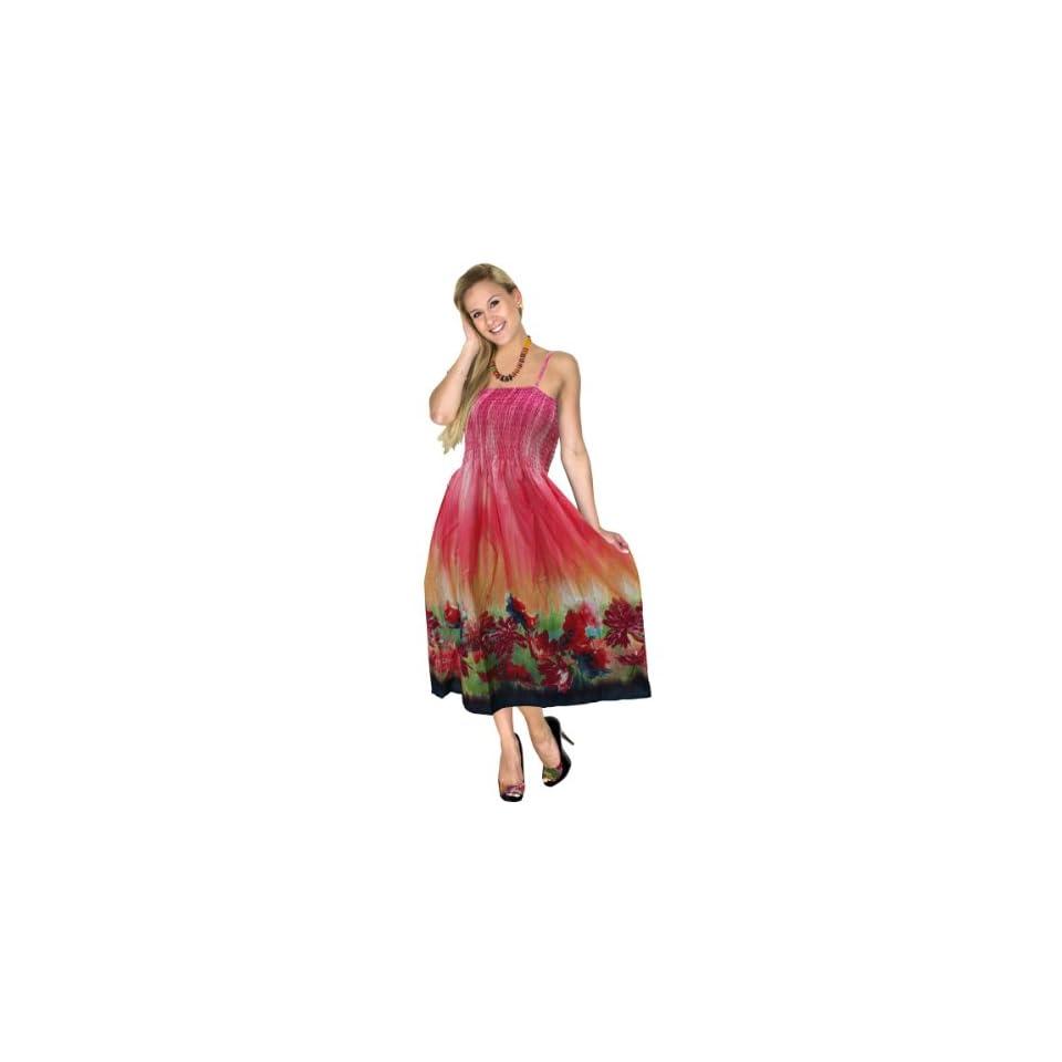 La Leela 100% Cotton Floral printed Backless Tube Dresss Tunic Pink