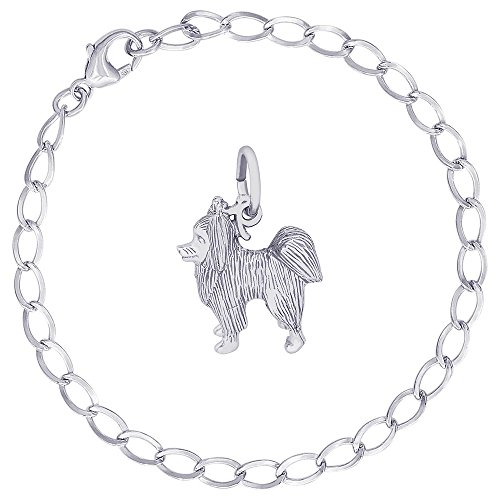 (Rembrandt Charms Sterling Silver Papillon Dog Charm on a Curb Link Bracelet, 7