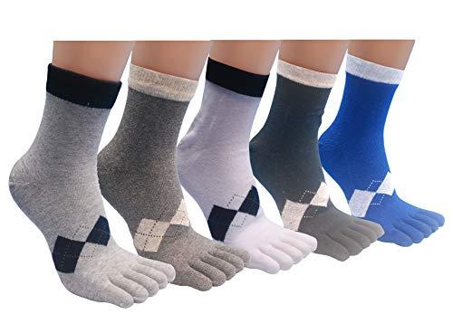 Men's Toe Socks Five Finger Cotton Athletic Wicking Grip Crew Warm 4 -