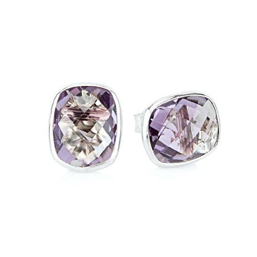 (14k White Gold Stud Earrings With Cushion Cut Amethyst - Gemstone Studs)