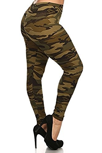 LJIF PLUS Army Camo Leggings Pants Spandex Women's Jeggings XL,XXL,XXXL 1X, 2X, 3X - Military Flag Folding American The Style