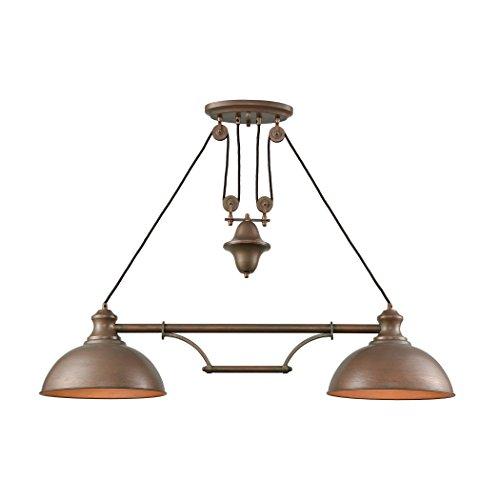 (Farmhouse 2 Light Pulldown Island Light In Tarnished Brass)