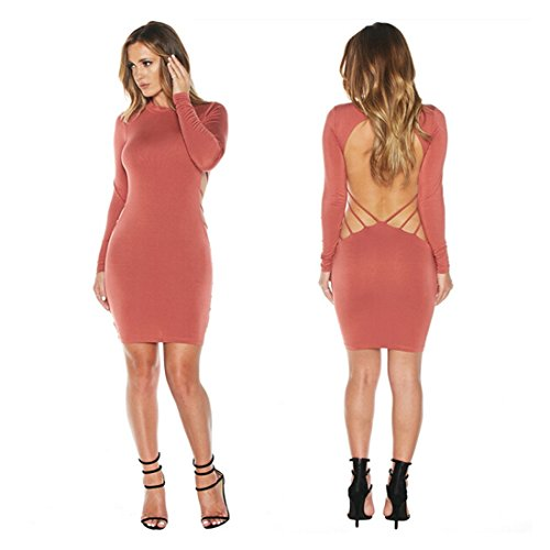 Bylexie Jenner Robe À Manches Longues Style Sexy Dos Nu Rose Flashy