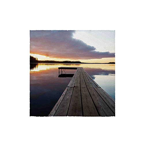 C COABALLA Art Durable Square Small Towel,View of Sunset Over an Old Oak Deck Pier and Calm Water of The Lake Horizon Serenity for Bathroom,13