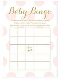 24 Polka Dots Gold Baby Shower Bingo Games (Pink) BOBEBE Online Baby Store From New York to Miami and Los Angeles