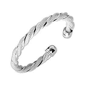 925 Sterling Silver Mesh Cuff Bracelet - Kiki's Silver Swirl Cuff