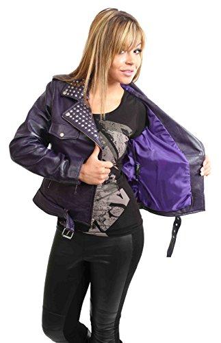 Cintura Con Biker Di Pelle Borchie Giacca Attrezzato Cut Viola Donna Vera Sally Del Stile Bzq8nXpW