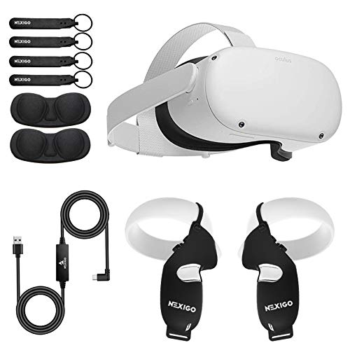 Oculus 2020 Newest Quest 2 VR 64GB Holiday Bundle, Advanced All-in-One Virtual Reality Gaming Headset, NexiGo Controller Grip Cover Black + Lens Protect Cover + 16FT Link Cable Accessory Bundle