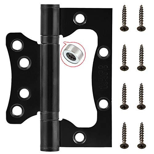 ALTBP 2-4 Pairs European Ball Bearing Door Gate Cabinet Hinges 4-8 Pack (4 Inch Non-Mortise Hinge, Black)
