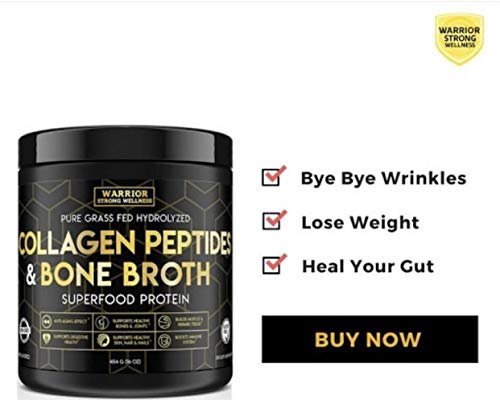 Collagen Peptides & Bone Broth by Warrior Strong Wellness: Pure Grass-Fed Hydrolyzed Collagen Powder Boost for Healthy Skin, Nails, Hair, Joints, Muscles & Digestion, Keto Friendly, Unflavored