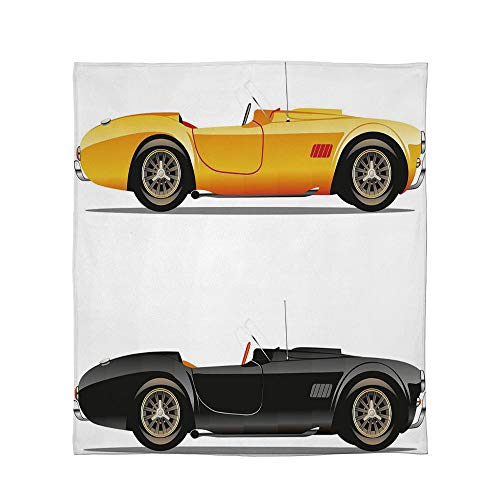 YOLIYANA Super Soft Blanket,Vintage,for Camping Bed Couch,Size Throw/Twin/Queen/King,Retro Nostalgic Cars Auto Engine Vehicle Inspired