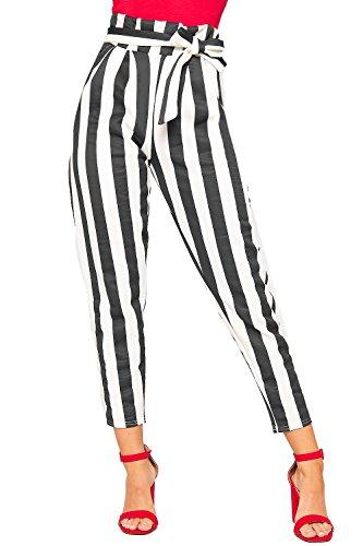 Noir Imprimer Papier Pantalon En Wearall Rayé Blanc 34 Poche 42 Femmes Dames Sac Camaïeu Belted gw8t0OtZq