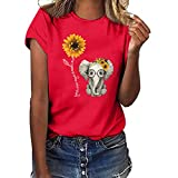 Sunflower Print Clothes Women,LYN Star❀ Summer Short Sleeve Loose Casual O-Neck Floral T-Shirt Tops I Like You 3000 Tops Red